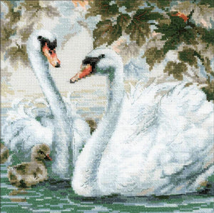 Cross Stitch Kit White Swans, Counted Cross Stitch Kit Riolis R1726