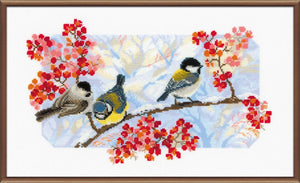 Cross Stitch Kit Winter Birds, Counted Cross Stitch Kit Riolis R1305