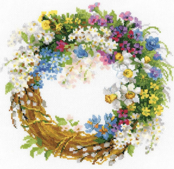 Wreath with Bird Cherry, Counted Cross Stitch Kit Riolis R1536