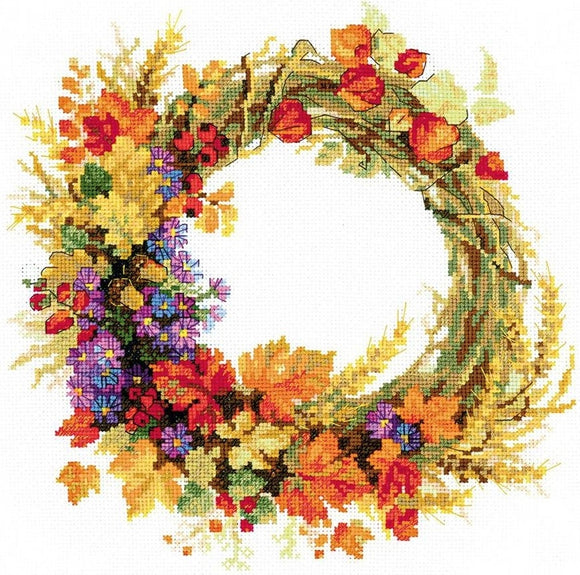 Wreath with Wheat, Counted Cross Stitch Kit Riolis R1537