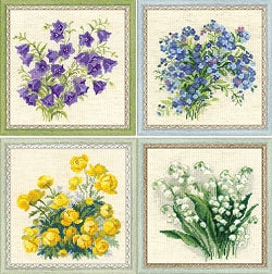 Cross Stitch Kit Set - Flowers, Counted Cross Stitch Riolis -Set of 4
