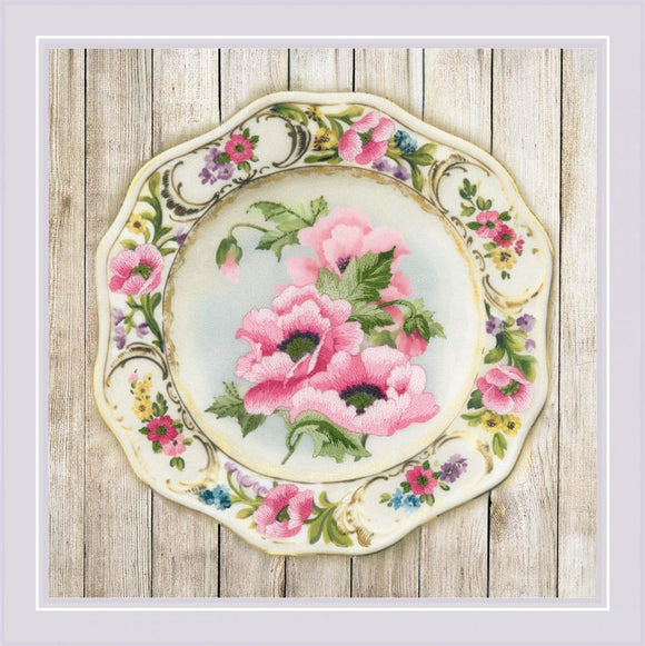 Embroidery Kit Anemone Plate Embroidery RPT-0075