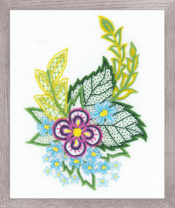 Embroidery Kit Jacobean Cornflowers Embroidery Riolis R1688