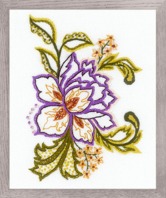 Embroidery Kit Jacobean Flower Embroidery, Riolis 1687