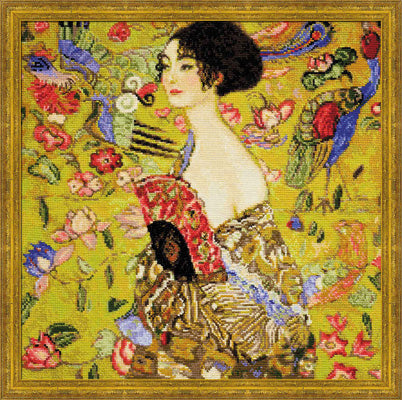 Lady With Fan, Gustav Klimt Cross Stitch Kit, Riolis R1226