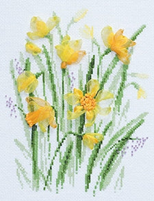 Cross Stitch Kit Spring Narcissi, Riolis Counted Cross Stitch Kit R1180