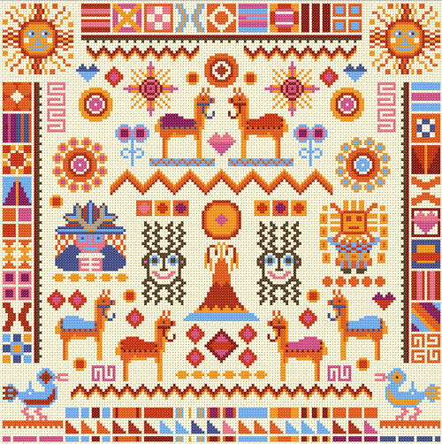 Cross Stitch Kit Inca Sampler, Counted Cross Stitch Kit RR393