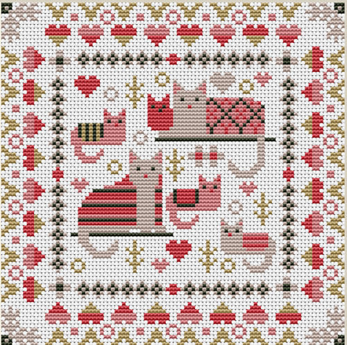 Cosy Cats Mini Sampler Counted Cross Stitch Kit, Riverdrift House RR422