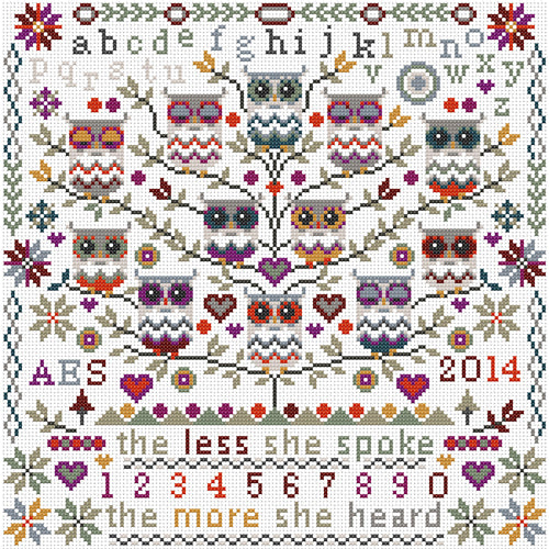 Cross Stitch Kit Owls Sampler, Counted Cross Stitch Kit RR