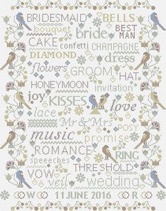 Birds and Words Wedding Sampler, Counted Cross Stitch Kit RR340