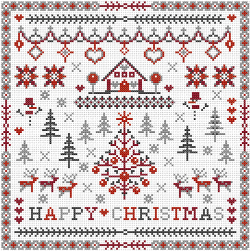 Cross Stitch Kit Happy Christmas Sampler, Counted Cross Stitch RR062