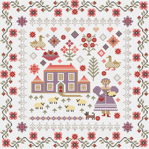 Lavender House Sampler, Counted Cross Stitch Kit RR399