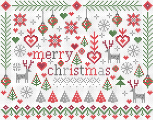 Cross Stitch Kit Little Merry Christmas, Counted Cross Stitch Kit RR379