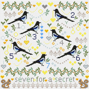 Cross Stitch Kit Magpies Sampler, Counted Cross Stitch Kit RR304