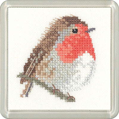 Robin Cross Stitch Kit, Heritage Crafts -Little Friends Coaster/Mini Kit