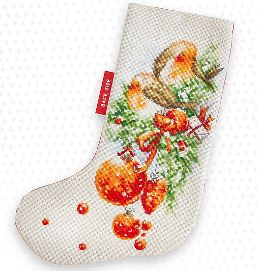 Robin Christmas Stocking Cross Stitch Kit Luca-s PM1229