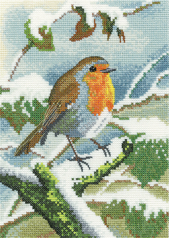 Robin in Winter Cross Stitch Kit, Heritage Crafts