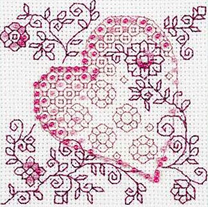 Tender Rose Heart Blackwork Bead Embroidery Kit, Riolis R1354