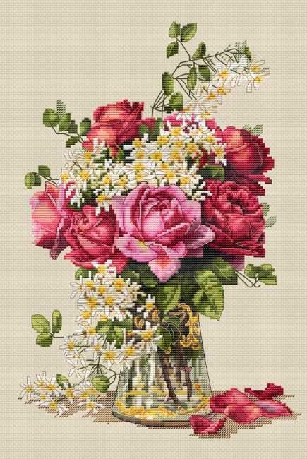 Roses Cross Stitch Kit, Merejka K-139