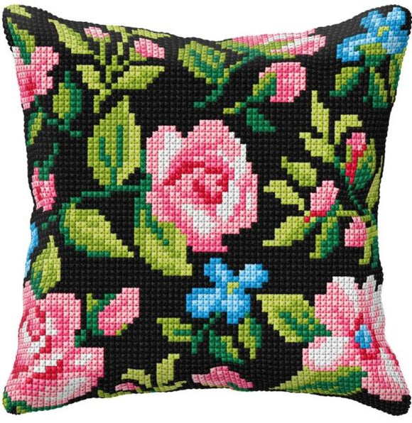 Roses on Black CROSS Stitch Tapestry Kit, Orchidea ORC99010