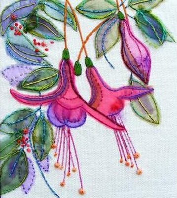 Embroidery Kit Fuchsias, Rowandean Embroidery