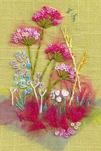 Embroidery Kit Pink Cow Parsley, Rowandean Embroidery