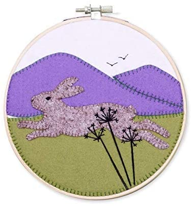 Running Hare Wool Felt Embroidery Kit, with Hoop, The Crafty Kit Company