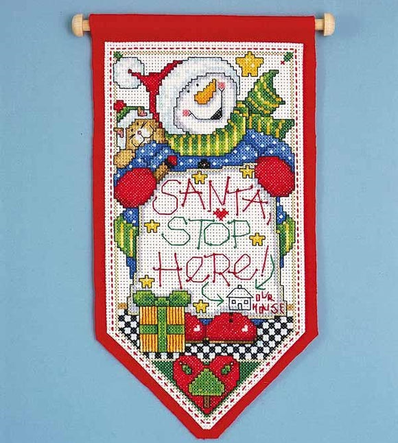 Santa Stop Here Christmas Banner Cross Stitch Kit, Design Works 5488