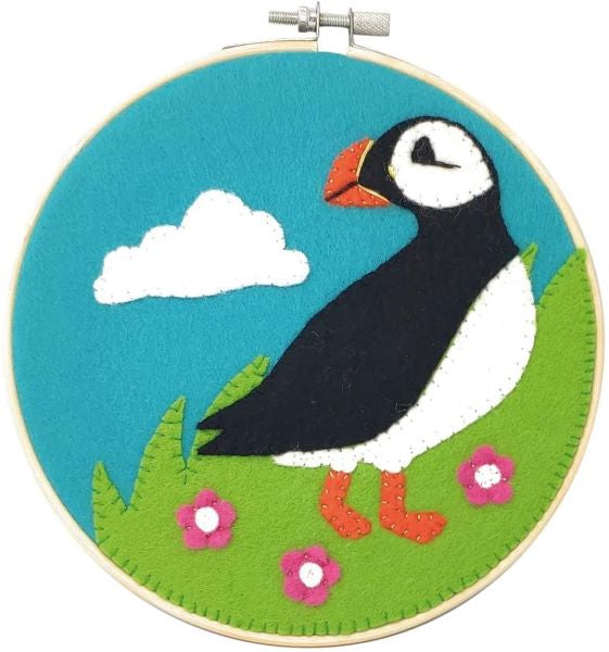 Puffin Wool Felt Embroidery Kit, with Hoop, The Crafty Kit Company