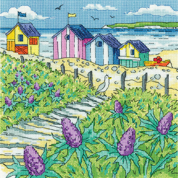 Sea Holly Shore Cross Stitch Kit, Heritage Crafts -Karen Carter