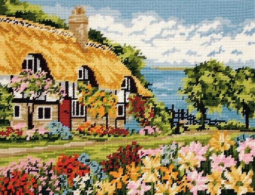 Sea View Cottage Tapestry Kit Needlepoint, Anchor MR7002