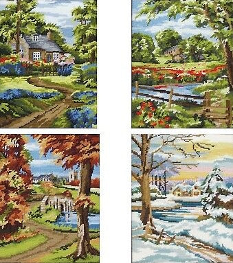Four Seasons Landscape Tapestry Kits Needlepoint, Anchor -SET of 4
