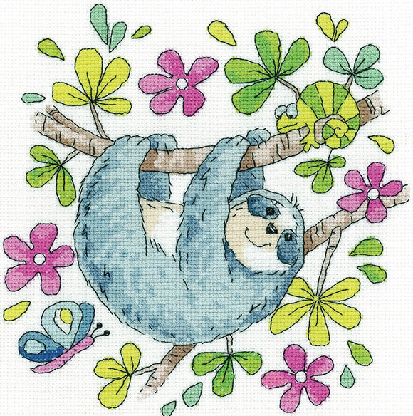 Sloth Cross Stitch Kit, Heritage Crafts -Karen Carter
