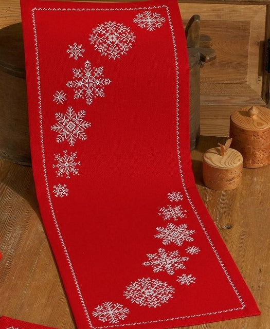 Snowflakes Tablecloth Cross Stitch Kit Runner, Permin 63-4621