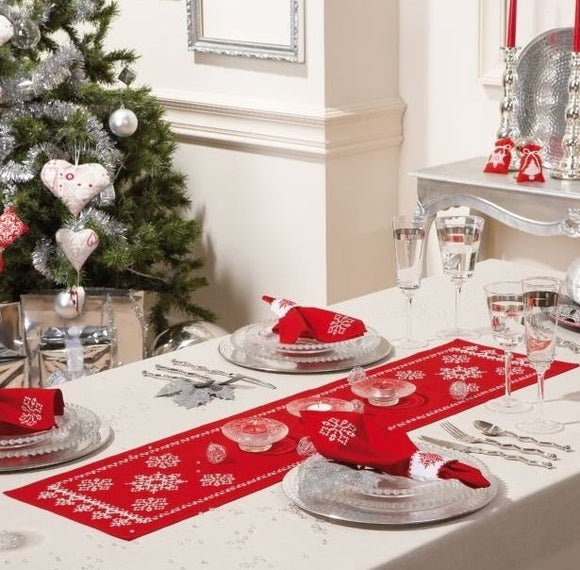 Snowflakes Tablecloth Cross Stitch Kit Runner, Vervaco PN-0012919