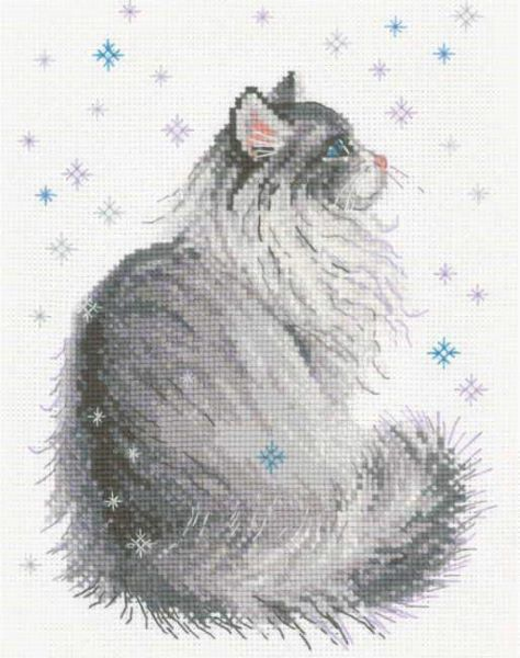 Snowy Meow Cross Stitch Kit, Riolis R1912