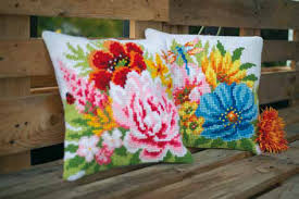 Colourful Flowers CROSS Stitch Tapestry Kits, Vervaco -PAIR