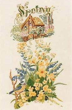 Embroidery Kit Spring Cottage Garden, Design Perfection E129