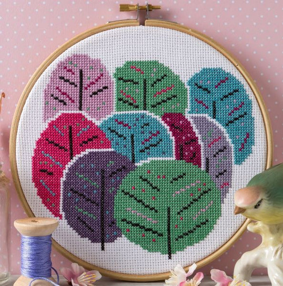 Spring Trees Cross Stitch Kit with Hoop, Hawthorn Handmade