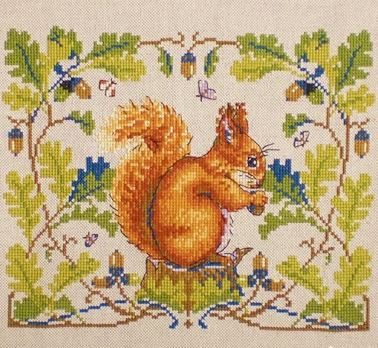 Squirrel Cross Stitch Kit, Merejka K-146