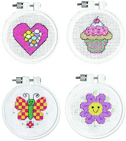 Cross Stitch Kit Starter/Beginners Set, Pink Counted Cross Stitch Kits