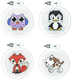 Cross Stitch Kit Starter/Beginners Set, Animal Counted Cross Stitch Kits