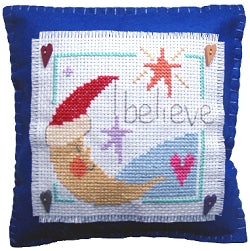 Cross Stitch Kit Believe Mini Cushion, Counted Cross Stitch, Stitching Shed
