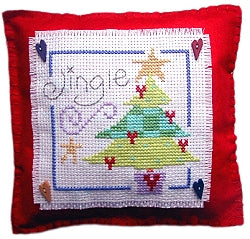 Cross Stitch Kit Christmas Tree Mini Cushion, Counted Cross Stitch, Stitching Shed