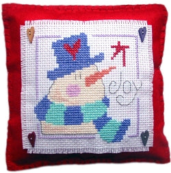 Cross Stitch Kit Snowman Joy Mini Cushion, Counted Cross Stitch, Stitching Shed