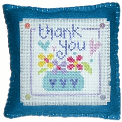 Cross Stitch Kit Thank You Mini Cushion, Counted Cross Stitch, Stitching Shed