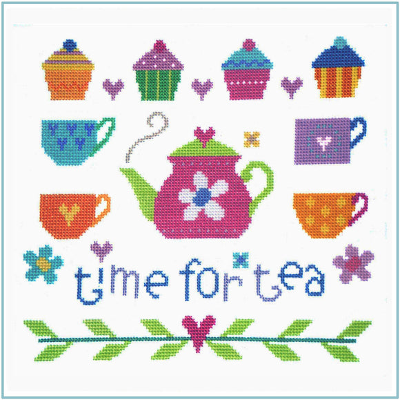 Cross Stitch Kit Time for Tea, Counted Cross Stitch, Stitching Shed
