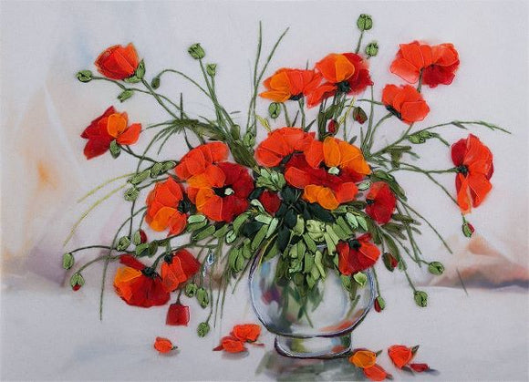 Study of Poppies Embroidery Kit, Ribbon Embroidery Panna JK-2074