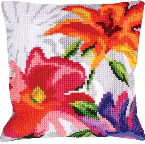 Stylish Flowers CROSS Stitch Tapestry Kit, Collection D'Art CD5226