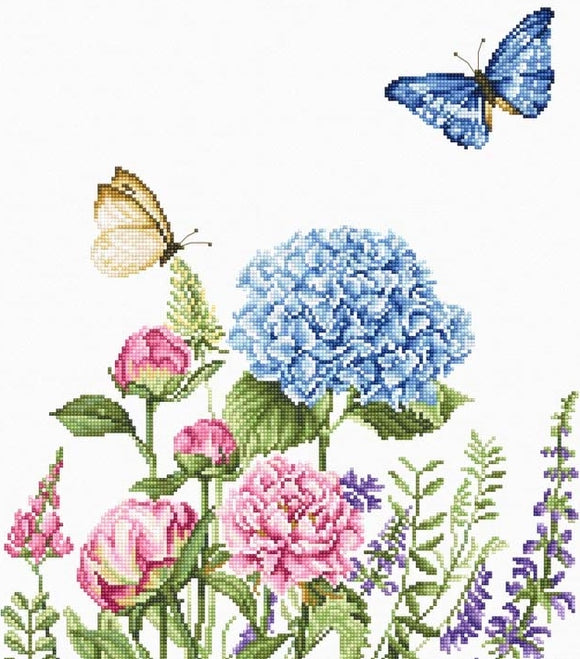 Summer Flowers with Butterflies Cross Stitch Kit, Luca-s B2360